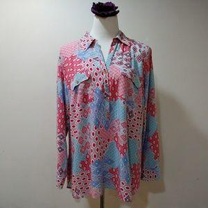 Talbots multi pattern button down shirt